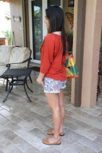 outfit, my style, cut off shorts, shorts, denim shorts, rachel roy, orange, orange top, casual, online shopping