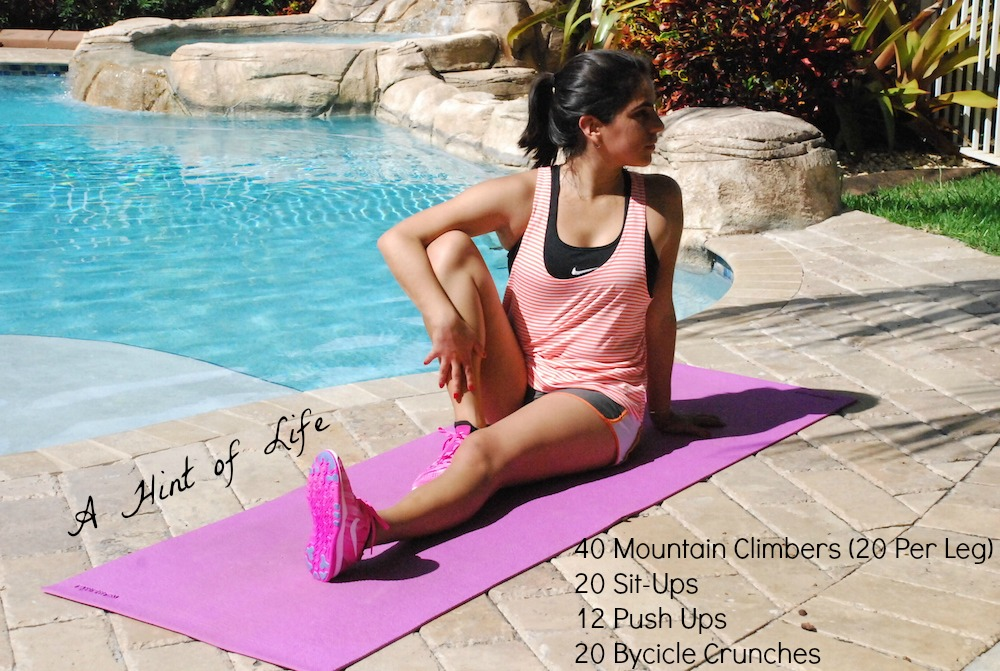 A Hint of Life shares her 15 min workout routine