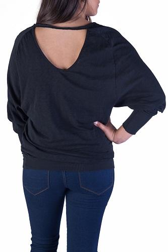v-neck open back black sweater