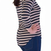 striped black and camel top
