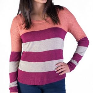 cozy burgundy striped knit sweater for women