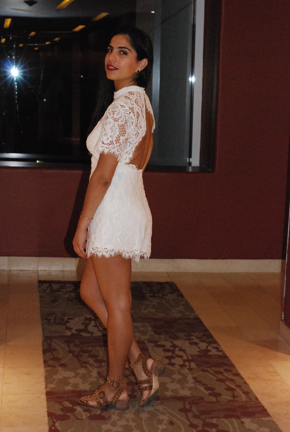 A Hint of Life | Open Back Lace White Romper New Years Eve Party Outfit